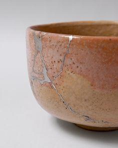 kintsugi bowl pink tan and silver