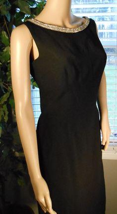 Vintage Rhinestone Black Evening Dress by OneCrazyShopperGurl, $38.00
