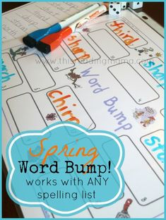 FREE Phonics Game for Spring (Word Bump!) ~ a highly adaptable spelling game you can play with ANY spelling list Spelling Games, Spelling Activities, Spelling Practice, Classroom Activities, Free Phonics Games, Literacy Stations, Literacy Centres, Word Study Activities, Spring Words