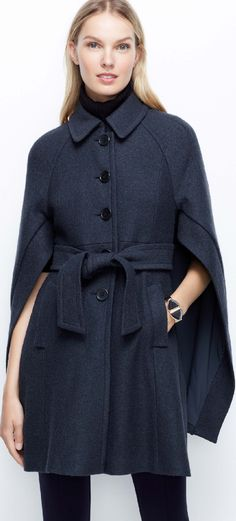 ANN TAYLOR BUTTONED-UP BOILED WOOL CAPE in Dark Sky