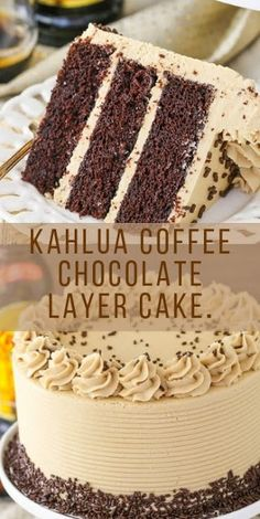 Kahlua Coffee Chocolate Layer Cake - It looks yummy and amazing- I will let you know what the outcome of the baking and verdict from my - No Bake Desserts, Just Desserts, Delicious Desserts, Dessert Recipes, Yummy Food, Food Cakes, Cupcake Cakes, Yummy Treats, Sweet Treats