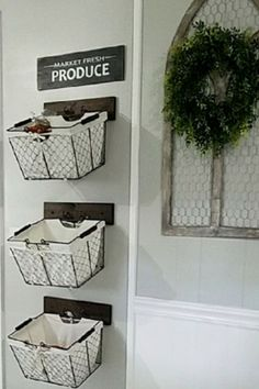 DIY Hanging Fruit Basket Ideas and PICTURES - Unique and Easy Wall Mounted Fruit Baskets - Clever DIY Ideas wall mounted hanging baskets ideas for fruit and vegetable storage in your kitchen Fruit Storage, Wall Storage, Hanging Baskets Kitchen, Wall Storage Diy, Storage Baskets, Home Decor Baskets, Baskets On Wall, Kitchen Wall Storage, Hanging Fruit Baskets