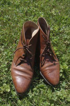 VTG 1980s ANKLE BOOTS Prairie Calvin Klein 6.5 Brown Laces Leather Granny Grunge #CALVINKLEIN #FashionAnkle
