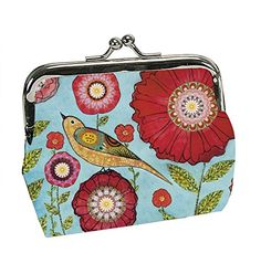 Exquisite Buckle Coin Purses Lily Floral Pattern Vector Mini Wallet Key Card Holder Purse for Women