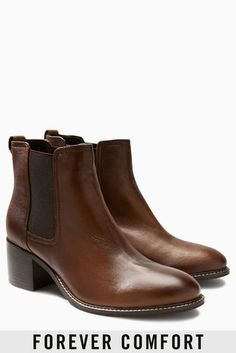 Shop for Tan Forever Comfort Block Heel Chelsea Boots at Next Israel. International shipping and returns available. Buy now! Tan Ankle Boots, Block Heel Ankle Boots, Black Leather Ankle Boots, Buckle Boots, Women's Boots, Bandeau Tops, Ballerinas, Tan Chelsea Boots, Zip Hoodies