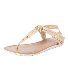 Another great find on #zulily! Nude Cutout Embellished T-Strap Sandal #zulilyfinds