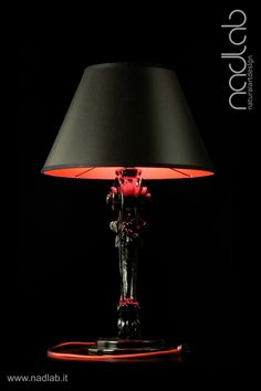 Bucefalo Black Red Light Off The Base And Body Of Lamp
