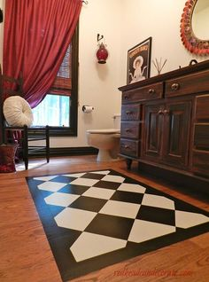 paint a rug on your wood floor, flooring, painting, After