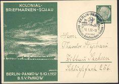 Germany, German Empire, 09.01.1937, Kolonial-Briefmarken-Schau-in Berlin-Pankow, 6 Pfg.-GA-Privatpostkarte mit Sonderstempel, adressiert, ohne Inhalt, I (Mi.Nr.PP127/C25). Price Estimate (8/2016): 15 EUR. Unsold.