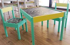 IKEA hack LATT table and chairs green yellow and zebra print styles