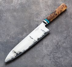 Explore a selection of unique, handmade and specialized eating and cooking tools. Custom kitchen knives, titanium chopsticks, handmade flatware and everything in between. Custom Kitchen Knives, Custom Knives, Handmade Chef Knife, Handmade Knives, Chefs, Hand Forged Knife, Japanese Kitchen, Maple Burl, Handmade Kitchens