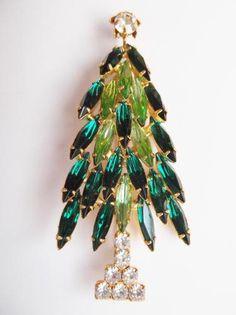 Vintage Rhinestone Christmas Tree Pin, Greens Clear Rhinestones