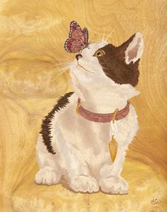 Cat and Butterfly - Marquetry by *amazoncanvas on deviantART