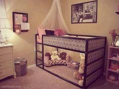 Damask bunk bed pink girls room room decor damask play area