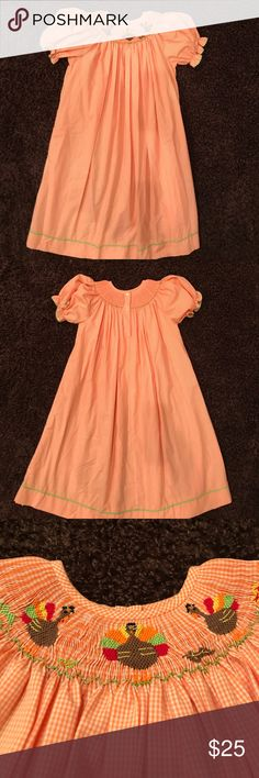 Girls Thanksgiving Smock dress Super Cute Girls Turkey thanksgiving smock dress worn once excellent condition size 6 Silly Goose Dresses