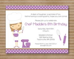 Kids Cooking Party Invitation / Baking Party by PaperHouseDesigns, $8.00