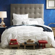 Organic Cotton Pintuck Duvet Cover, love the little benches
