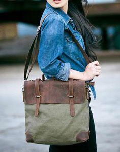 Army-green canvas leather bag  :) love denim <3