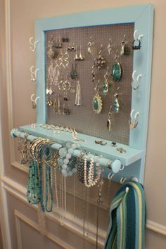 Beautiful Turquoise Wall Mounted Jewelry Organizer With A Bracelet Bar, Wall…