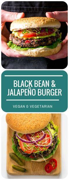 Vegan BBQ Black Bean & Jalapeno Burger