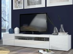 Daiquiri, Modern Large TV Cabinet in White Gloss Finish, Optional Lights
