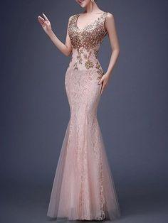 Deep V-Neck Plain Paillette Deluxe Evening Dress
