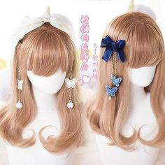 Details about 2018 Women's Sweet Tassel Butterfly Bell Hairband/HairClip Alloy+Lace 1 piece - Hair styles - Hair Accessories Kawaii Hairstyles, Pretty Hairstyles, Black Hairstyles, Long Natural Hair, Natural Hair Styles, Kawaii Wigs, Lolita Hair, How To Curl Short Hair, Cosplay Hair