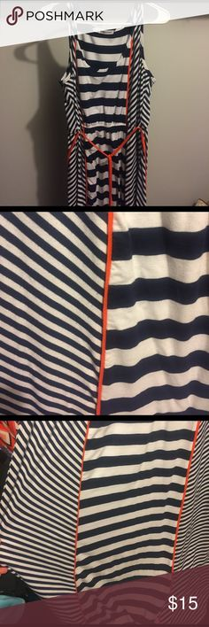 💙 Gently Used BEAUTIFUL hi-low Maxi!!! 💙 I LOVE this maxi! It's so flattering! Hi-low cut. Blue and white stripes with orange details and belt! This piece is so cute and one of my favorites!! Great for work or play! 💙 size 0 from Maurice's. Can fit xl,xxl as well! Maurices Dresses Maxi
