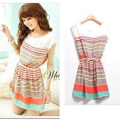 Orange D348-6 Size S Women Summer New multicolor striped Korea spring Desses