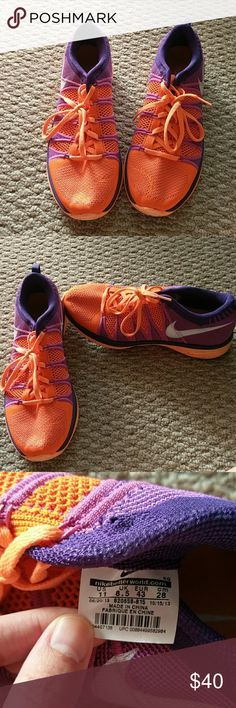 Nike flyknit lunar 2 Gently used Bright orange Nike running sneakers. Nike Shoes Sneakers