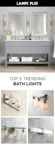 Shop best-sellers and favorite style bathroom lighting styles. We have everything you need - from modern brushed steel and chrome bath lights to classic sconces. Bathroom Renos, Bathroom Renovations, Bathroom Interior, Small Bathroom, Bathroom Gray, Bamboo Bathroom, Bathroom Taps, Master Bathrooms, Bathroom Ideas