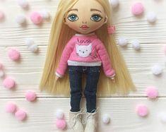 TEXTILE DOLL FABRIC Doll Handmade doll Rag doll Cloth doll Art doll Soft doll Tilda doll Handmade Doll Décor doll Baby doll Collectable doll
