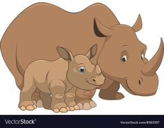 Rhinoceros with cub Royalty Free Vector Image - VectorStock Adult Coloring, Coloring Books, Coloring Pages, Animals In The Bible, Zoo Animals, Cute Animals, Inkscape Tutorials, Baby Rhino, Rhinoceros