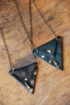 Leather Pouch Necklaces