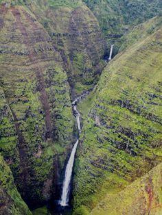 Aerial View of the Interior of the Island of Kauai, Hawaii. #waterfall #kauai #hawaii