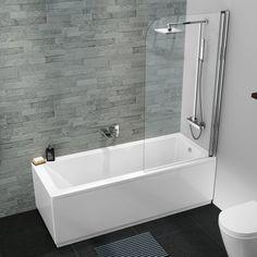 1600 x 700 Designer Square Single Ended Bath Straight Bathtub Shower Screen Bath Shower Screens, Bathtub Shower, Steam Showers Bathroom, Rain Shower, Straight Baths, Bathroom Store, Bathroom Tubs, Bathrooms Online, Small Bathrooms
