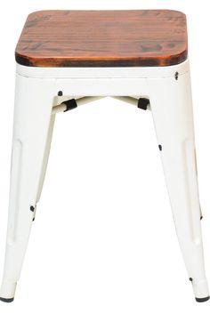 Banqueta Design Tolix Branca Metal Assento De Madeira 9708 - R$ 189,00