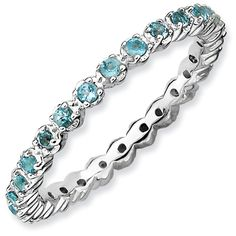 Blue Topaz Sterling Silver Eternity Band with December Birthstone only $98.00 - Stack Rings