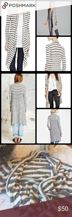 Free People Forget Me Not Stripe Cardigan A slouchy shawl collar frames the open placket of a striped, marked-knit Free People cardigan. Ribbed cuffs finish the long sleeves. 100% cotton.  Hand Wash. 36 in long. Very good used condition. Pull on collar captured in last picture. Free People Sweaters Cardigans
