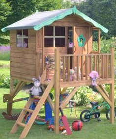 I have got to have this for the girls. Outside Playhouse, Playhouse Kits, Build A Playhouse, Playhouse Outdoor, Wooden Playhouse, Kettler Garden Furniture, Garden Furniture Sale, Twig Furniture, Backyard For Kids