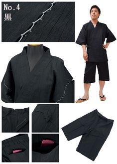Men Asa (cotton 85%, hemp 15%) Yoryu (wrinkle longitudinally) Jimbei for men made in Japan