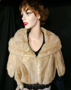 Vintage 50s blonde MINK FUR Stole Cape Wrap Wedding Bridal by JanetsVintagePlanet on Etsy