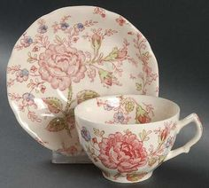 Johnson Brothers Rose Chintz tea cup and saucer. What I take my tea in every day.