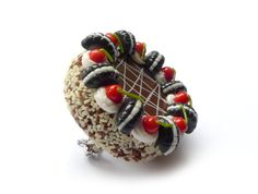 Cute Oreo and Cherry cake brooch by FreakyFinery on Etsy, £8.50