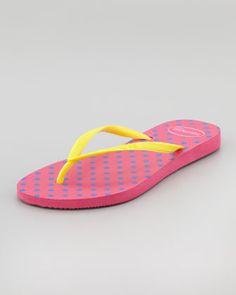 Slim Polka-Dot Flip-Flop, Fuchsia by Havaianas at Neiman Marcus.