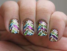 #NailArtApr April 7th: Rainbow Braided Glitter Placement Nails | Sovis Nail Journal