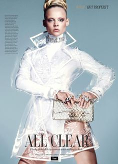 Patrick Mackie styles Viktoriya Sasonkina in graphic sophistication in 'All Clear' for W Magazine's March issue.