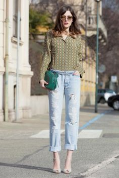 S/S 2013 street style. Boyfriend jeans and a simple shirt.