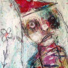 Creepy Clown Portrait Original Painting. textured by crudeart