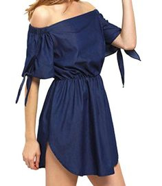 4a0c9f8f11910 Pivaconis Women s Off Shoulder Short Sleeve Denim Shorts Romper Jumpsuit  Playsuits. penna · Fashion Street Casual Summer